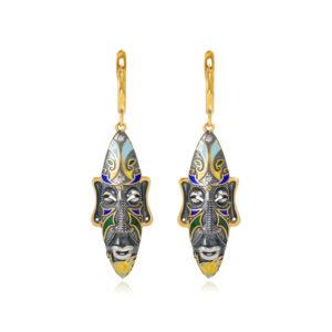 31 283z 2 300x300 - Серебряные серьги «Африканская маска Оконга» (золочение), разноцветные