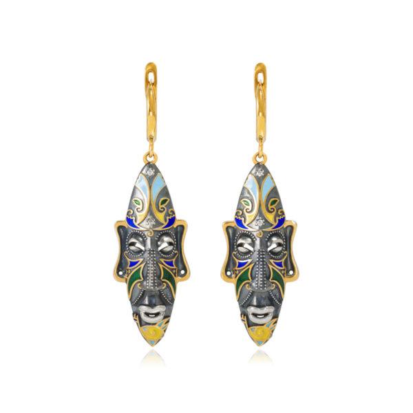 31 283z 2 600x600 - Серебряные серьги «Африканская маска Оконга» (золочение), разноцветные