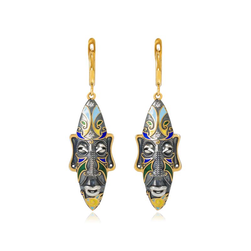 31 283z 2 - Серебряные серьги «Африканская маска Оконга» (золочение), разноцветные