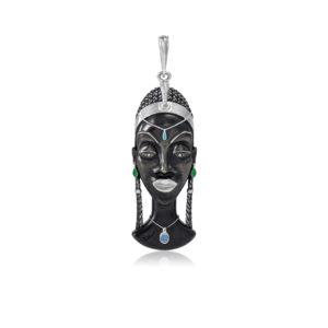 71 280 kuaja 300x300 - Серебряная подвеска «Африканская маска Куайя»