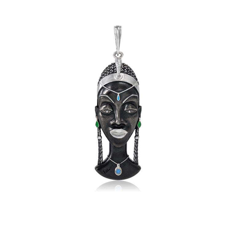 71 280 kuaja - Серебряная подвеска «Африканская маска Куайя»