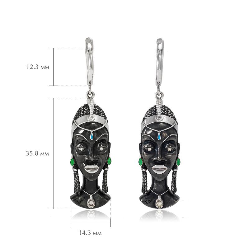 sergi podveski kuaja - Серебряные серьги «Африканская маска Куайя»
