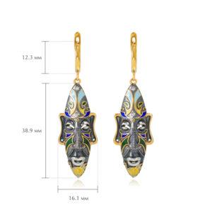 sergi podveski okongo 300x300 - Серебряные серьги «Африканская маска Оконга» (золочение), разноцветные