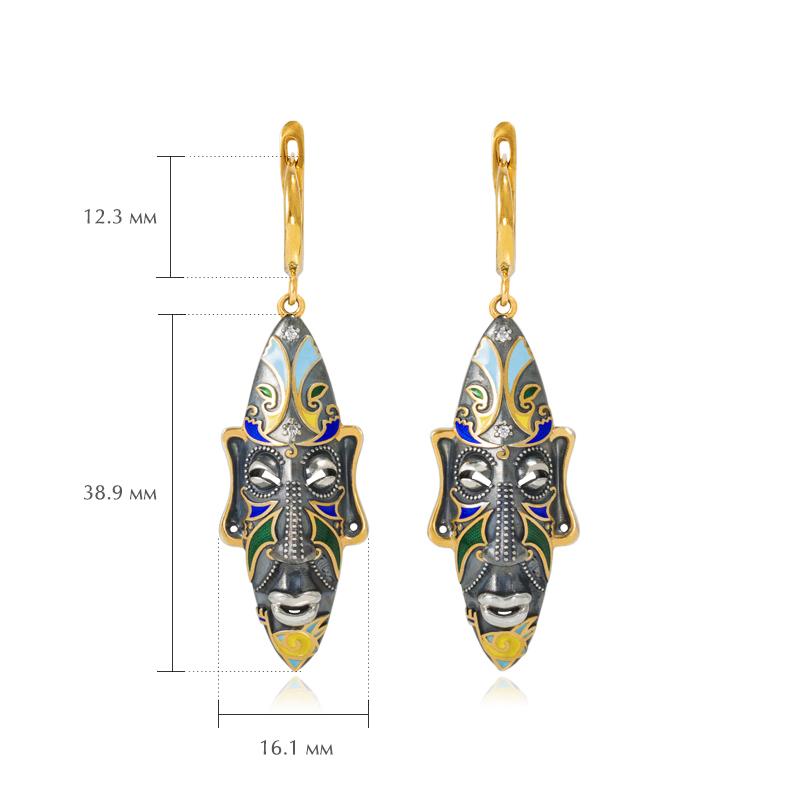 sergi podveski okongo - Серебряные серьги «Африканская маска Оконга» (золочение), разноцветные