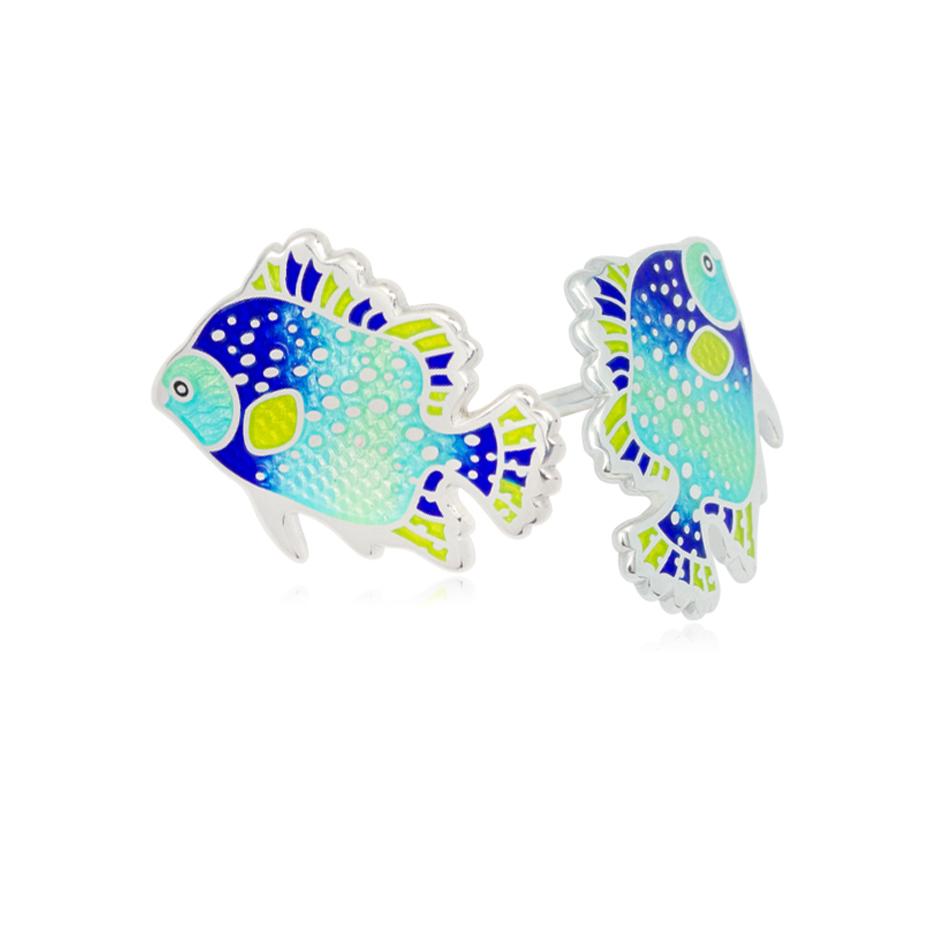 lyalius - Пуссеты из серебра «Лялиус», голубые