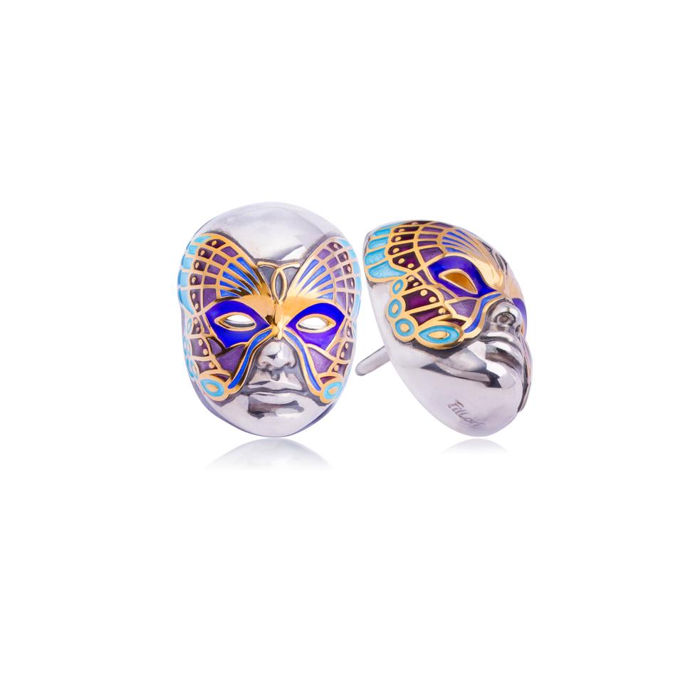 31 285 2s - Пусета из серебра «Маска Бабочка», фиолетовая (золочение)