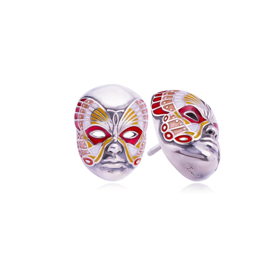 31 285 3s - Пусета из серебра «Маска Бабочка», розовая