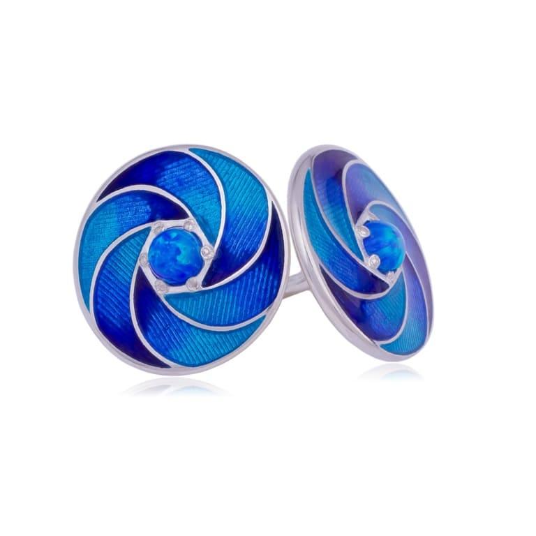 31 244 1s - Пусеты серебряные «Невозможное», синие с опалом