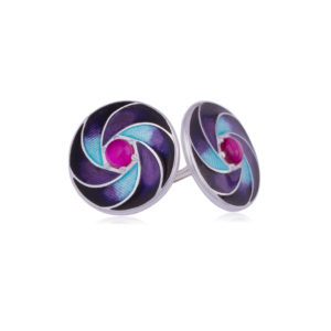 31 244 3s 300x300 - Пусеты серебряные «Невозможное», фиолетовые с гранатом