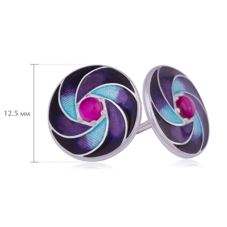 nevozmozhnoe 3 - Пусеты серебряные «Невозможное», фиолетовые с гранатом