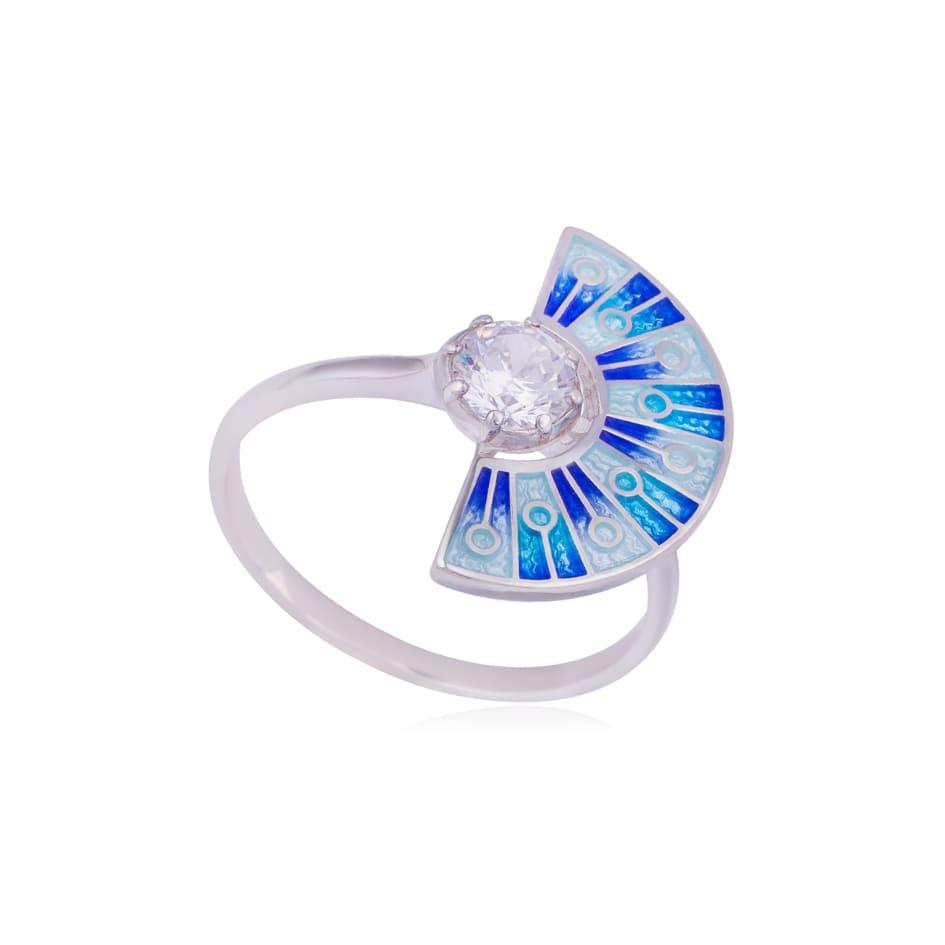 61 256 1s - Кольцо из серебра «Фламенко», синее с фианитом