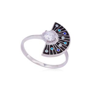 61 256 2s 300x300 - Кольцо из серебра «Фламенко», черное с фианитом