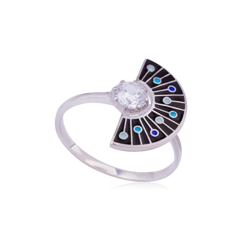61 256 2s - Кольцо из серебра «Фламенко», черное с фианитом
