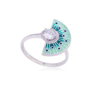 61 256 3s 300x300 - Кольцо из серебра «Фламенко», синее с фианитом