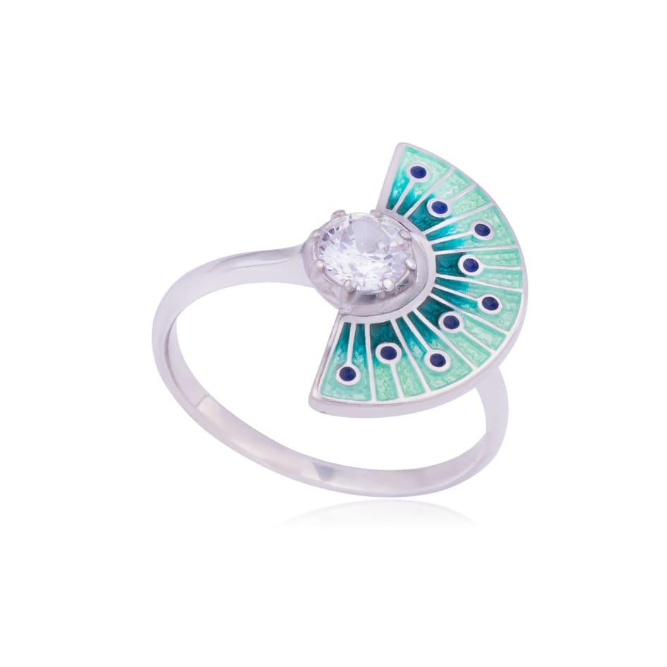 61 256 3s - Кольцо из серебра «Фламенко», зеленое с фианитом