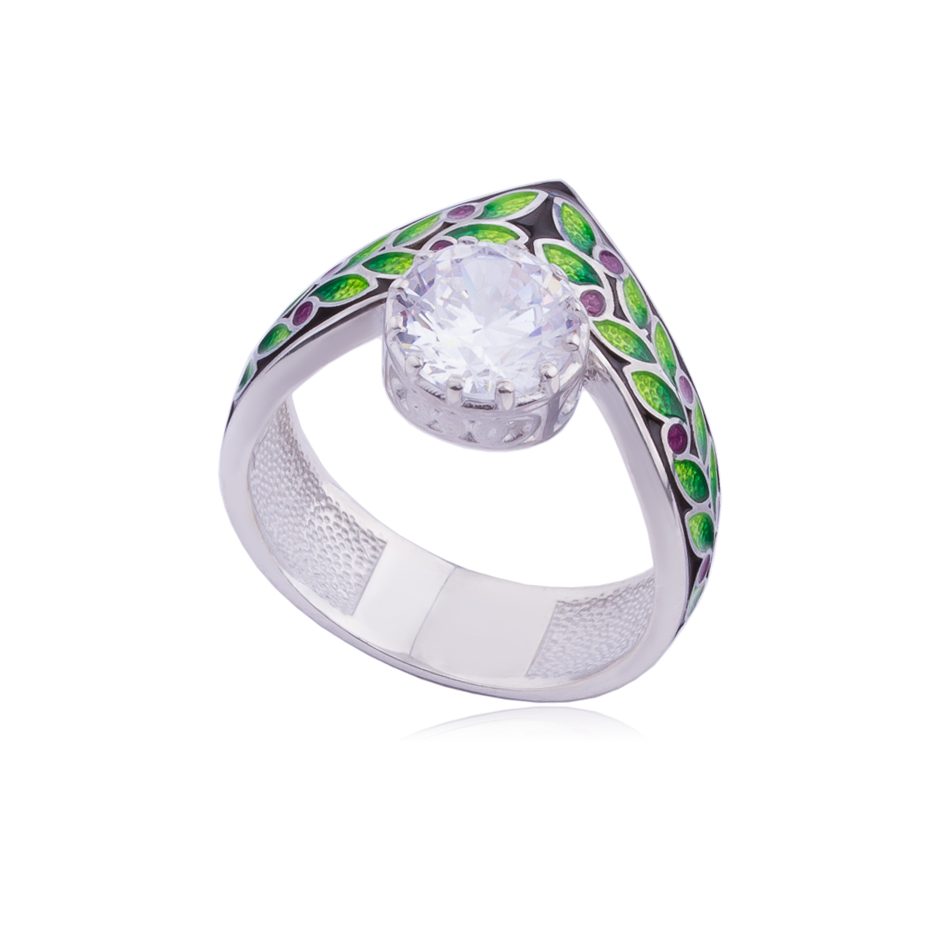 61 257 1s - Кольцо из серебра «Тиара», фиолетовое