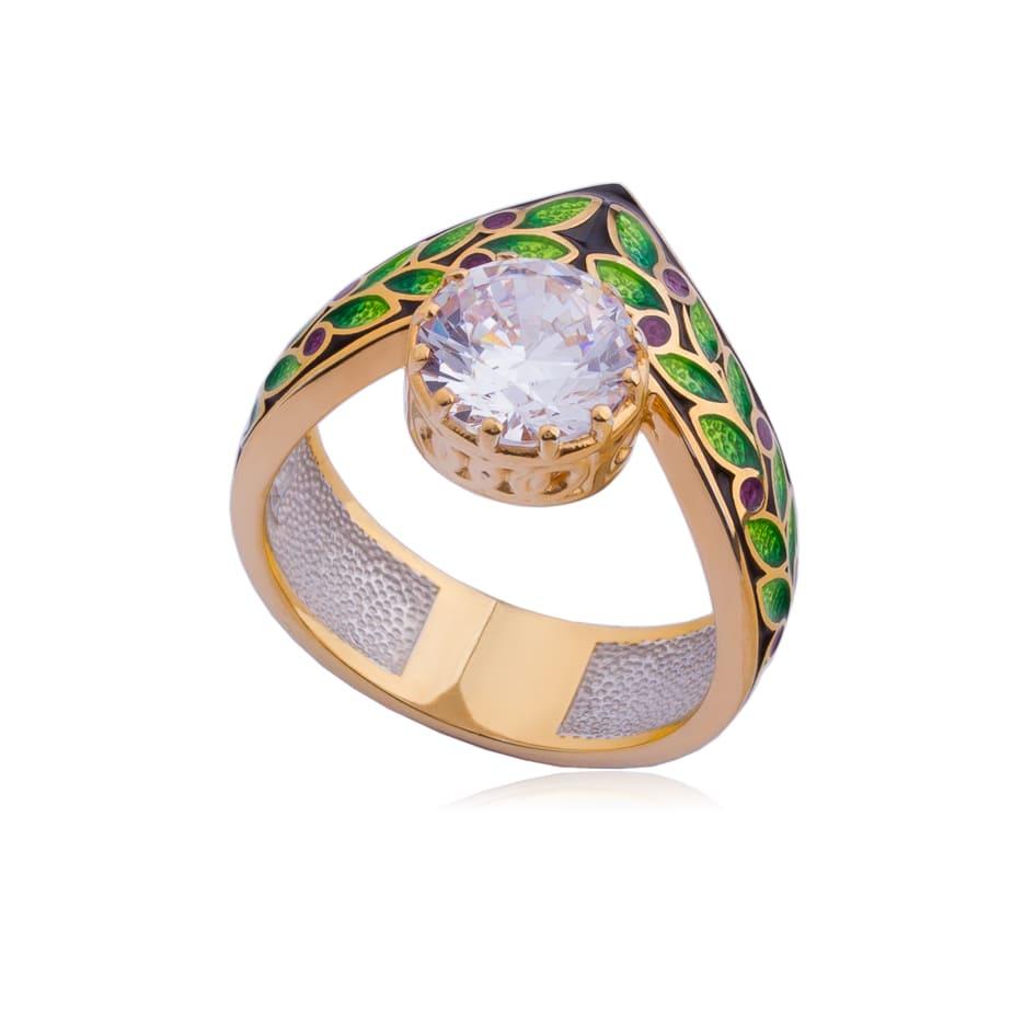 61 257 1z - Кольцо из серебра «Тиара», фиолетовое (золочение)
