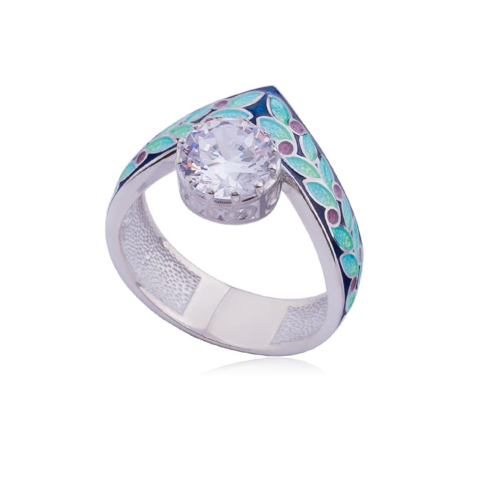 61 257 2s - Кольцо из серебра «Тиара», синее с фианитами