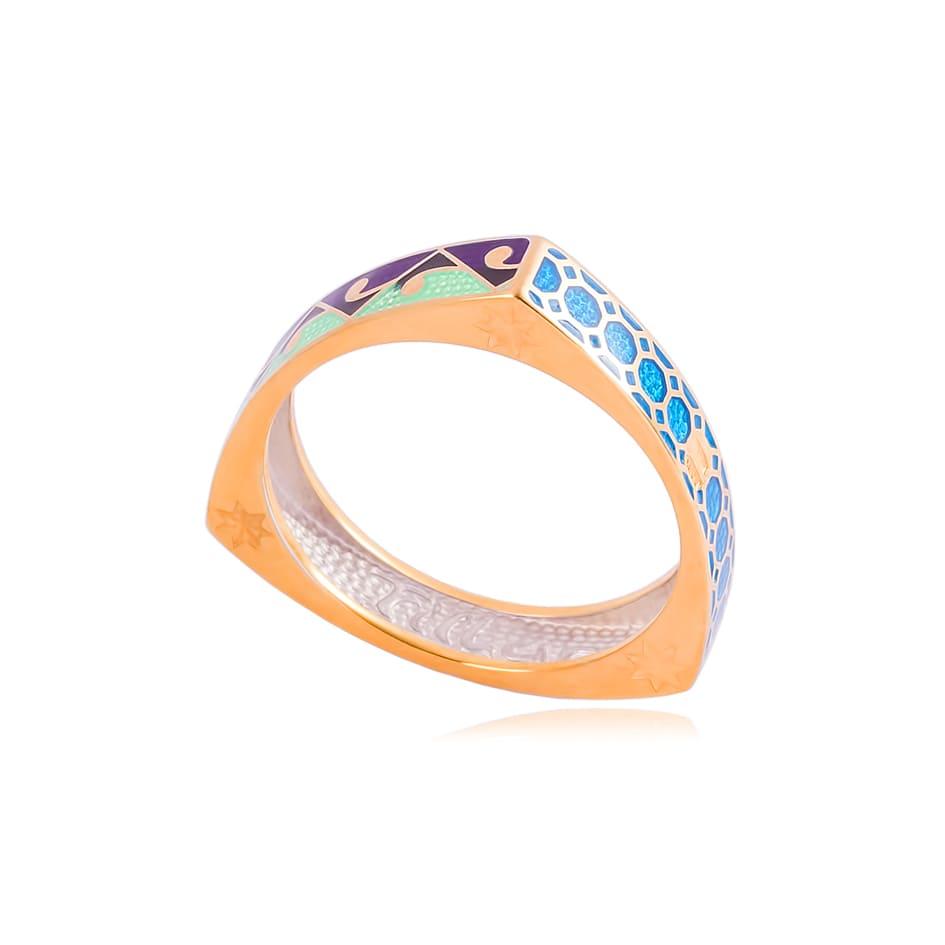 61 186 1z - Кольцо из серебра «Орнамент» (золочение)