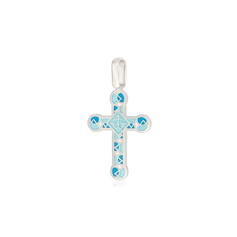 8 30 2s - Нательный крест из серебра «Седмица», бирюзовый