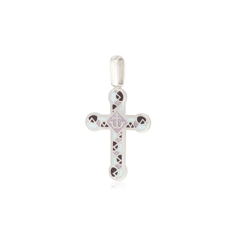 8 30 3s 1 - Нательный крест из серебра «Седмица», фиолетово-белый