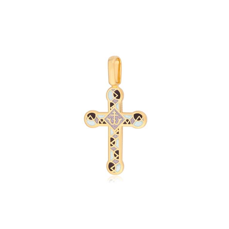 8 30 3z 1 - Нательный крест «Седмица» (золочение), фиолетово-белый