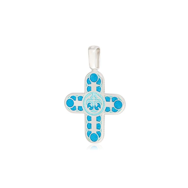 8 31 1s 3 - Нательный крест из серебра «Седмица», голубой