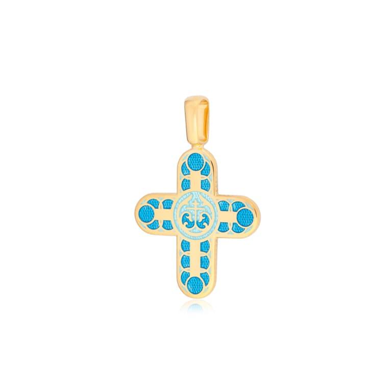 8 31 1z 2 - Нательный крест «Седмица» (золочение), голубой