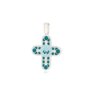 8 31 2s 1 300x300 - Нательный крест из серебра «Седмица», зеленый