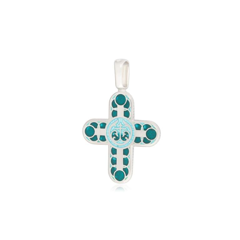 8 31 2s 1 - Нательный крест из серебра «Седмица», зеленый