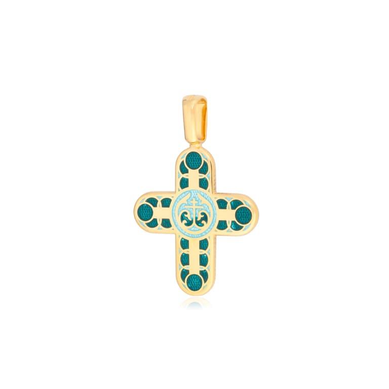 8 31 2z 1 - Нательный крест «Седмица» (золочение), зеленый