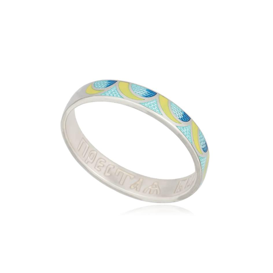 6 32 3s - Кольцо из серебра «Седмица», желто-голубое