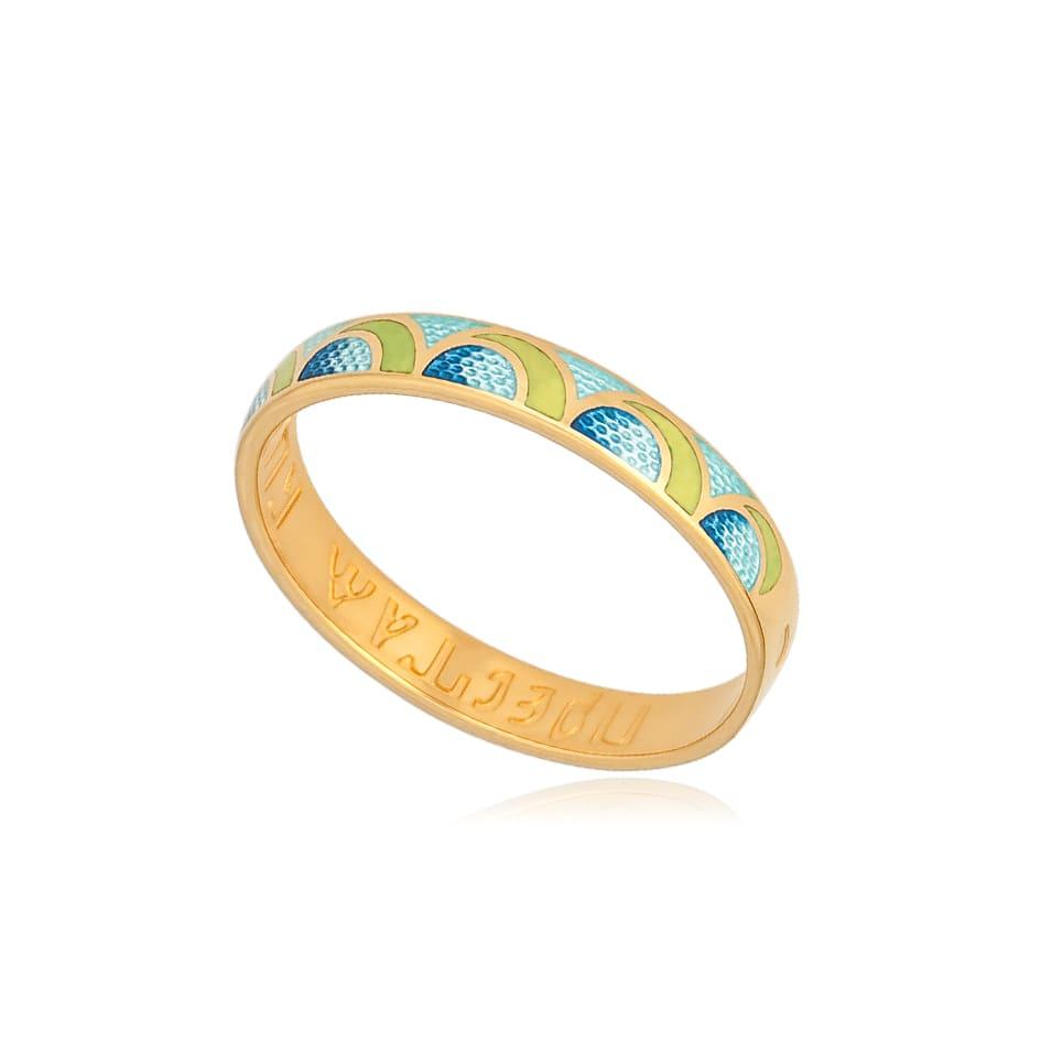 6 32 3z - Кольцо из серебра «Седмица» (золочение), желто-голубое